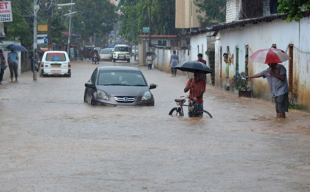 A view of waterlogged streets of Guwahati on June 14, 2019.