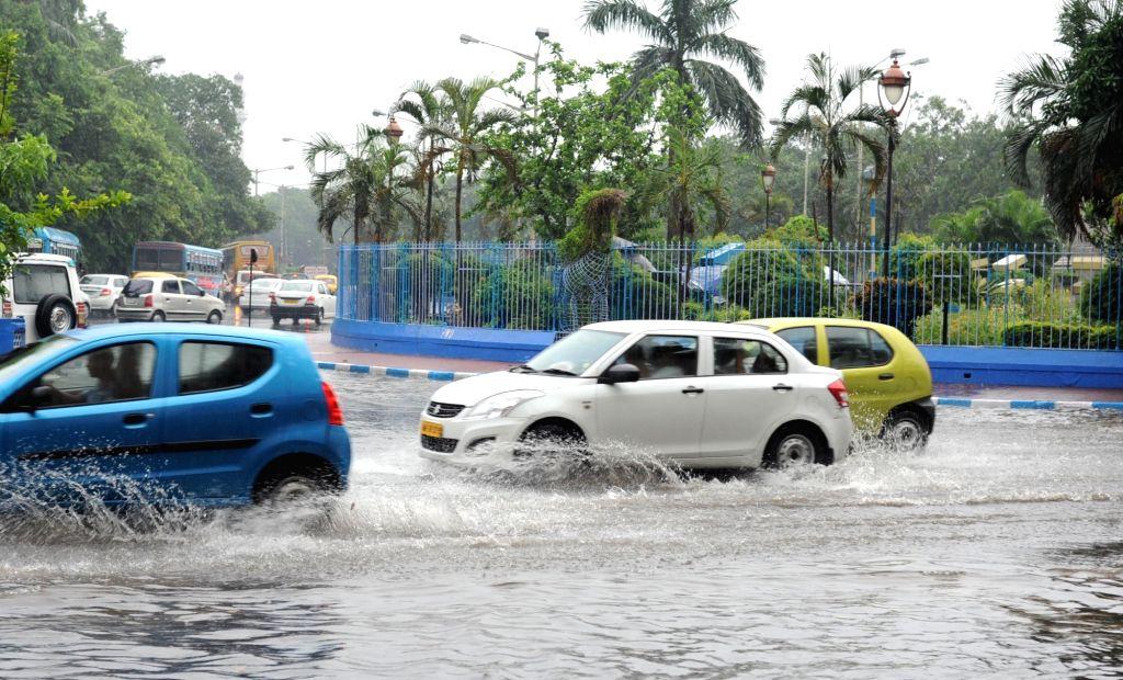 A view of waterlogged streets of Kolkata after heavy rains in Kolkata, on June 23, 2017.