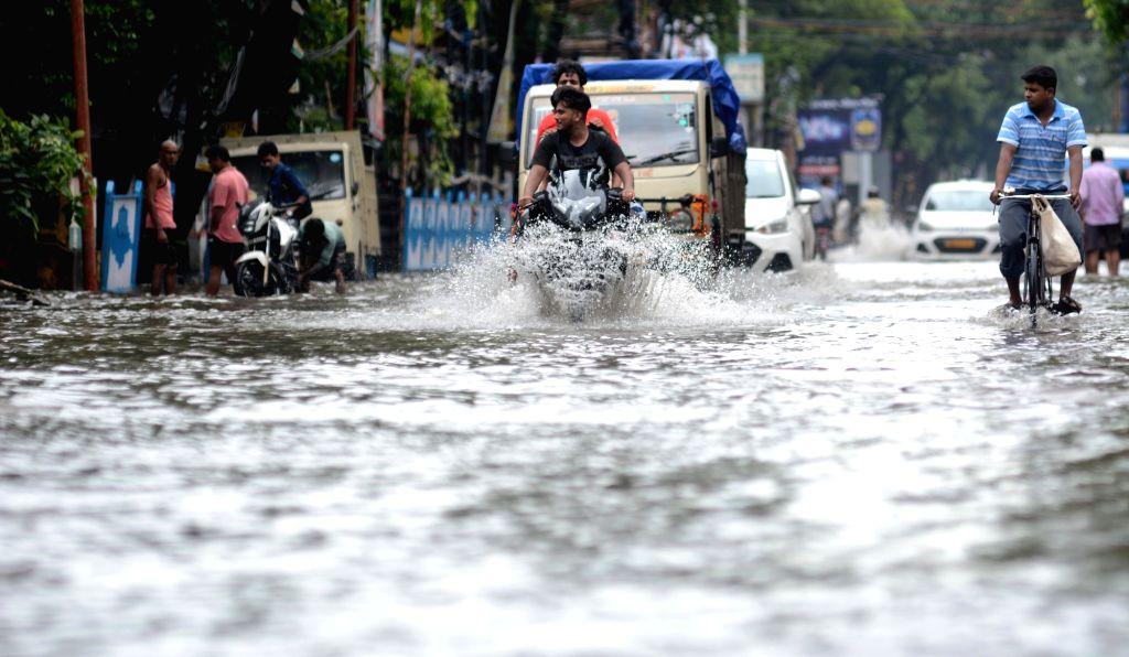 A view of waterlogged streets of Kolkata on 29 Sep, 2019.
