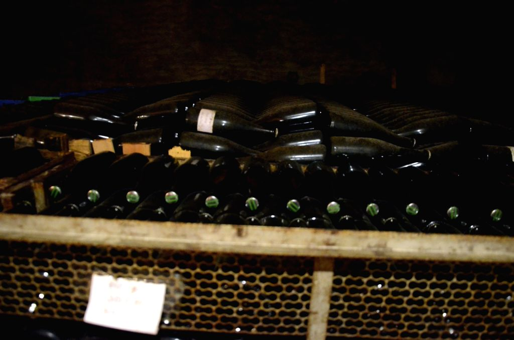 A view of wine bottles stored at Grover Zampa winery in Sanjegaon Village of Nasik on Feb 10, 2018.