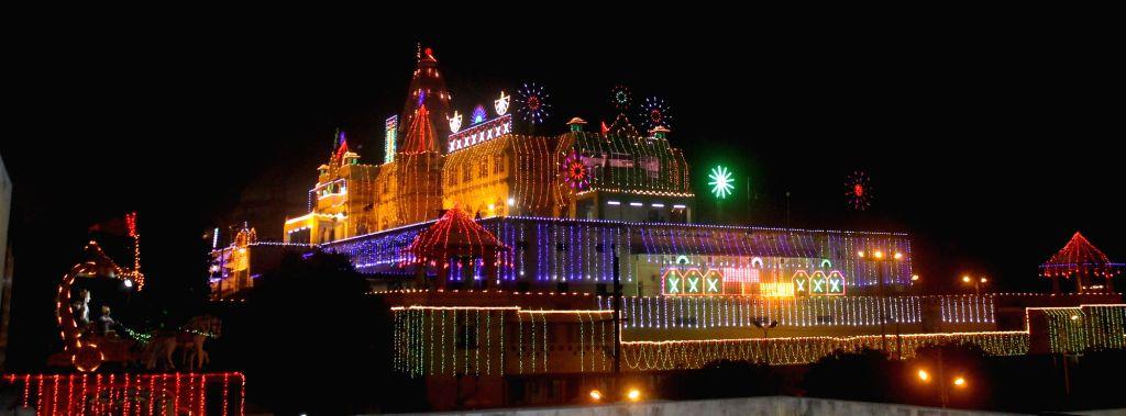 A view spectacularly lit Shri Krishna Janam bhumi ahead of Diwali Mathura on Oct 28, 2016.
