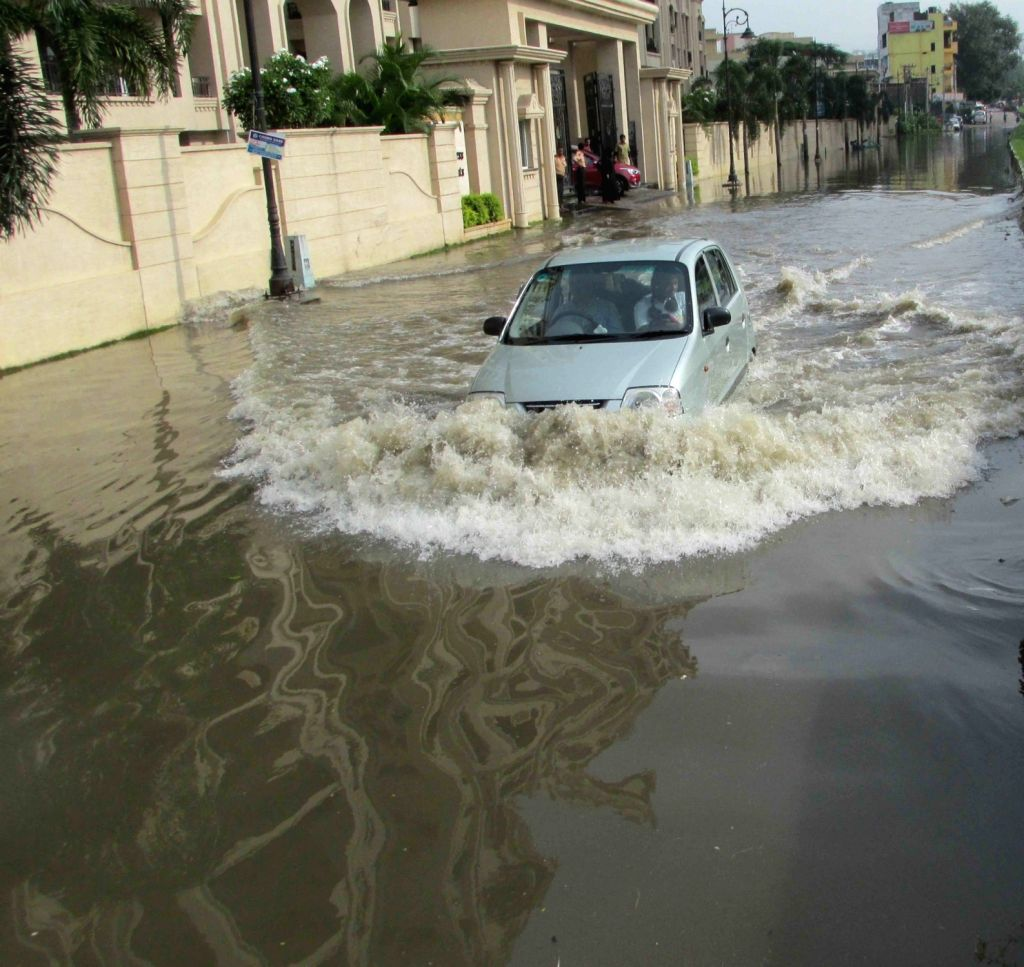 A view water logged streets of Hyderabad on Oct 10, 2017.