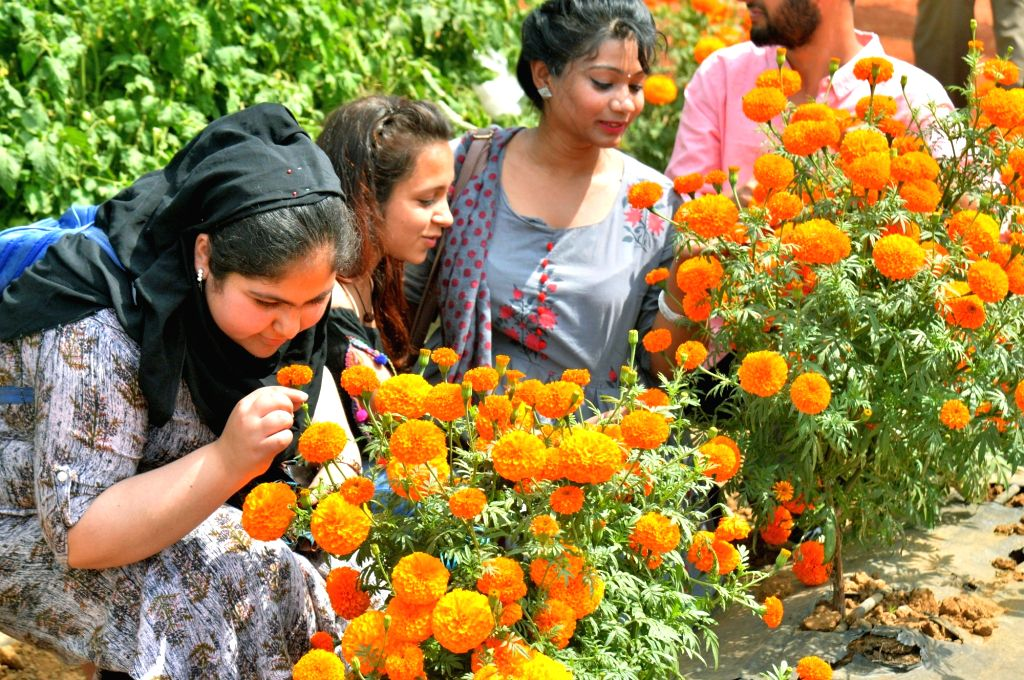 A visitor smells the fragrance of a flower during National Horticulture Fair 2020 organised by Indian Institute of Horticultural Research, in Bengaluru on Feb 6, 2020.