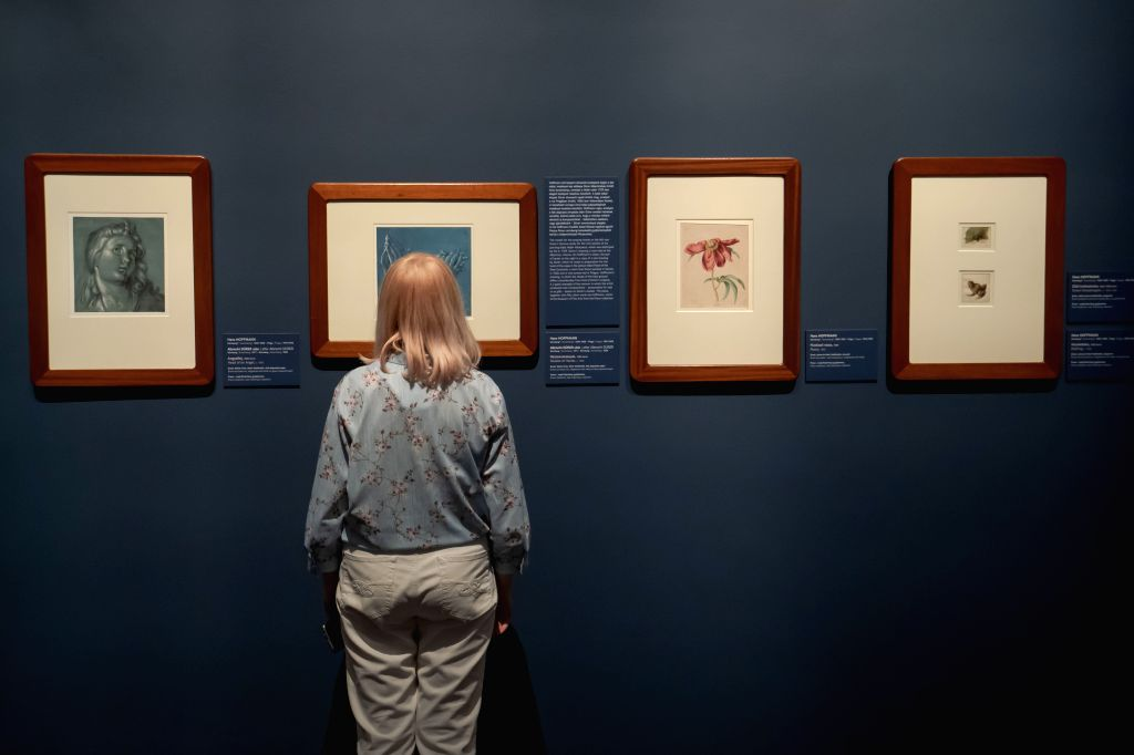 A visitor views exhibits at the Museum of Fine Arts in Budapest, Hungary on June 24, 2020. The Museum of Fine Arts reopened on June 20.