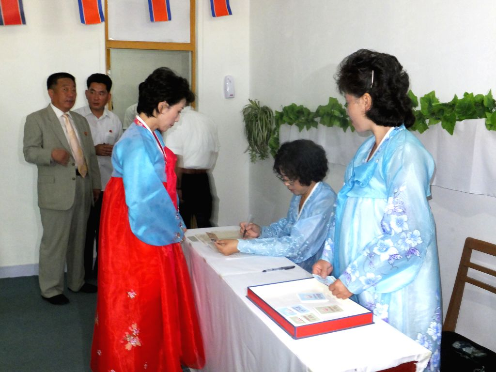 A voter registers at a polling station in Pyongyang, the Democratic People's Republic of Korea (DPRK), July 19, 2015. The election of deputies to local assemblies ...