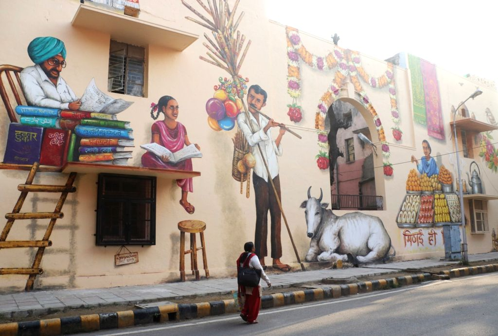 A wall painting - part of street art project that was inaugurated by the delegation of European union to India, on International Women's Day at Lodhi Art District, in New Delhi, on March ...