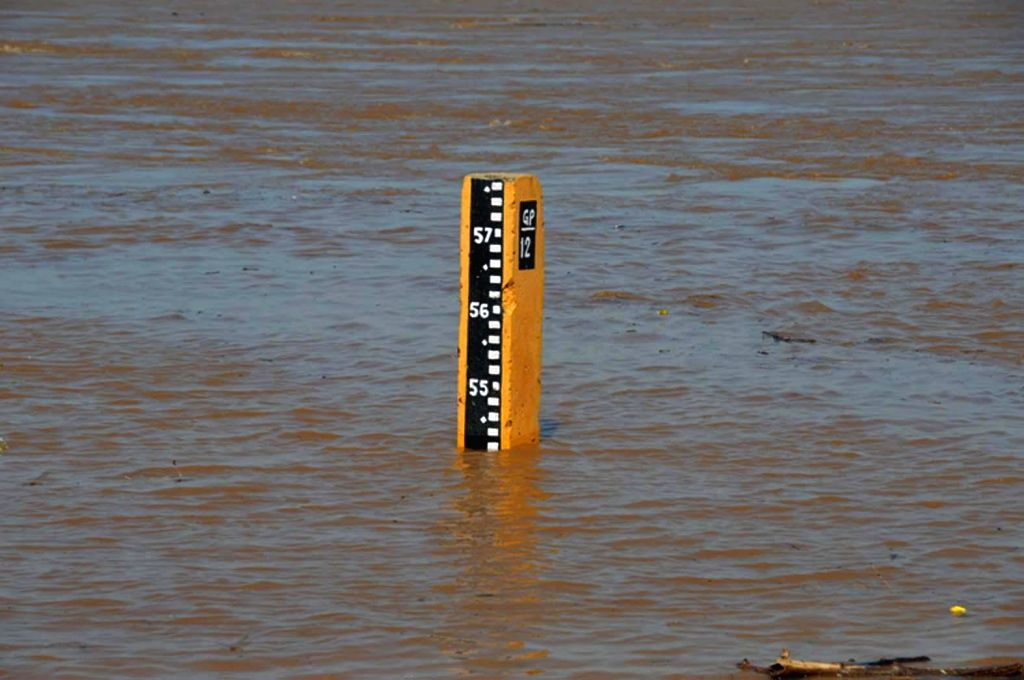 A water level indicator showing water level in the Godavari River at Khammam district of Telangana on Sept 8, 2014.