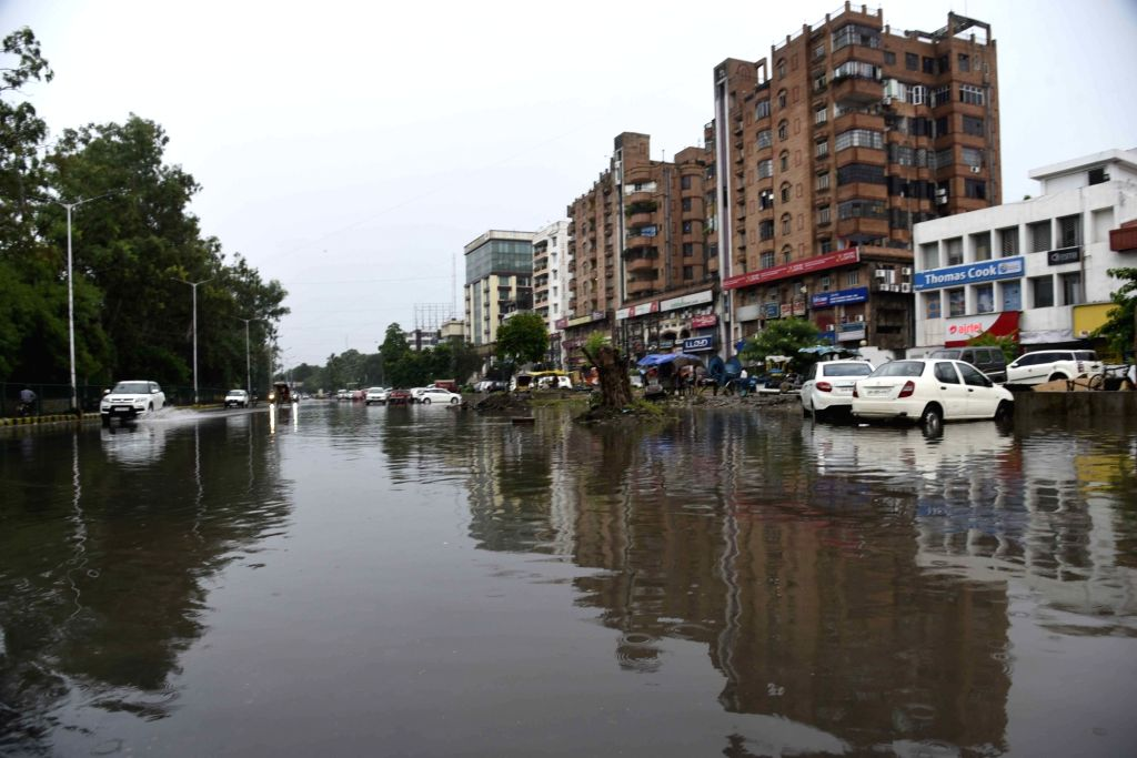 A water-logged Patna street after heavy rains lashed the city on July 31, 2020.