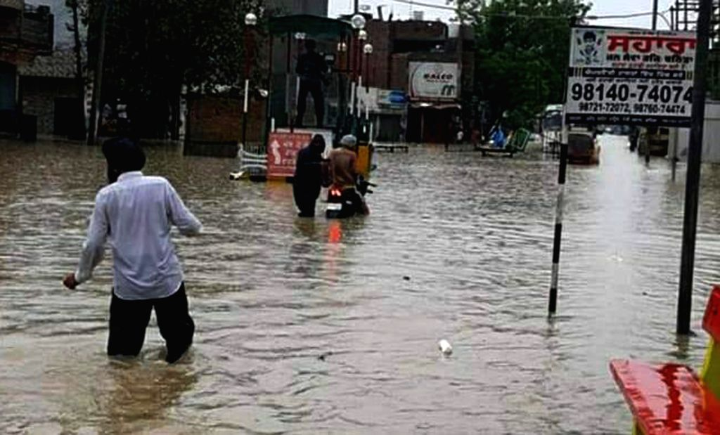 A water-logged street after heavy rains in Punjab's Bathinda, on July 16, 2019.