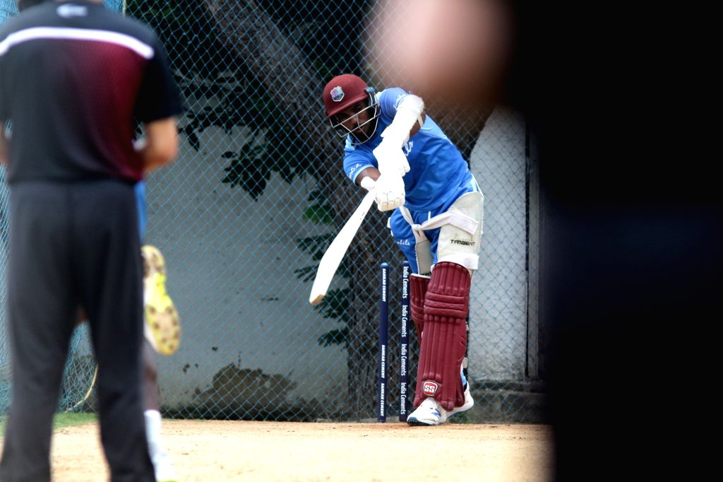 A West Indies player during a practice session ahead of the 1st one-day international (ODI) match against India, at the MA Chidambaram stadium in Chennai on Dec 13, 2019.