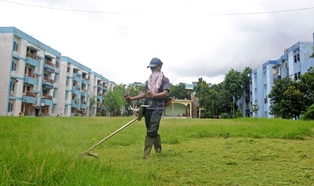 A worker busy mowing a football ground in Kolkata on Aug 10, 2020.