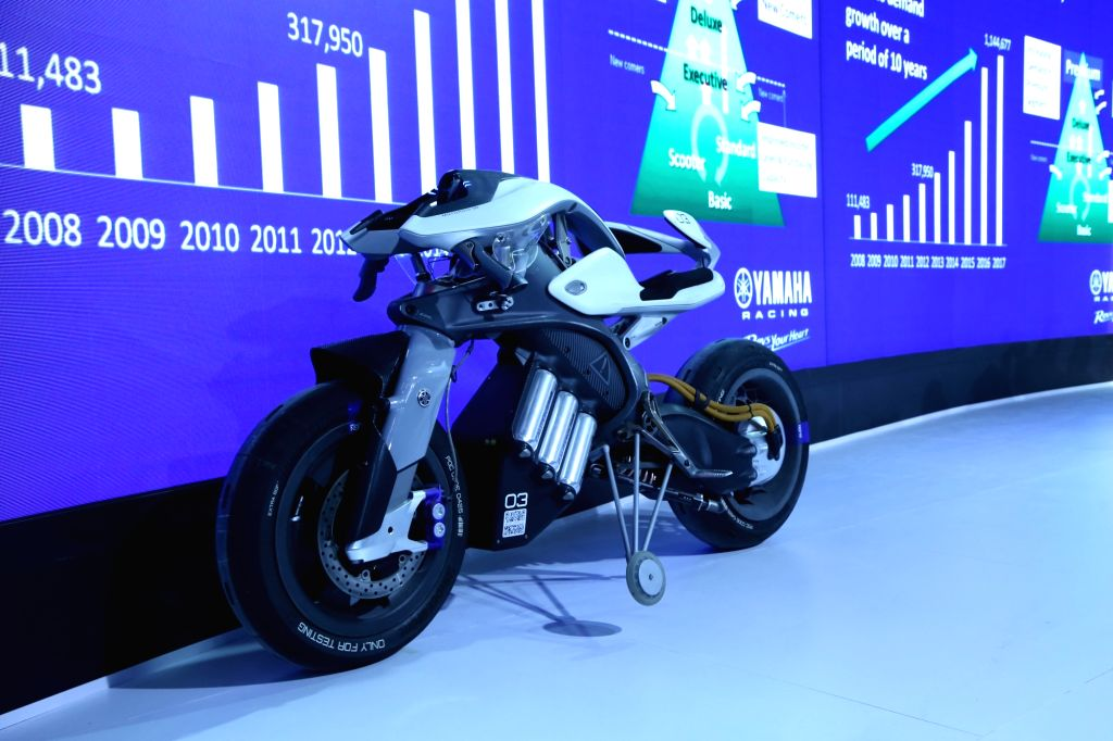 A Yamaha bike at the Auto Expo 2018 in New Delhi on Feb 7, 2018.
