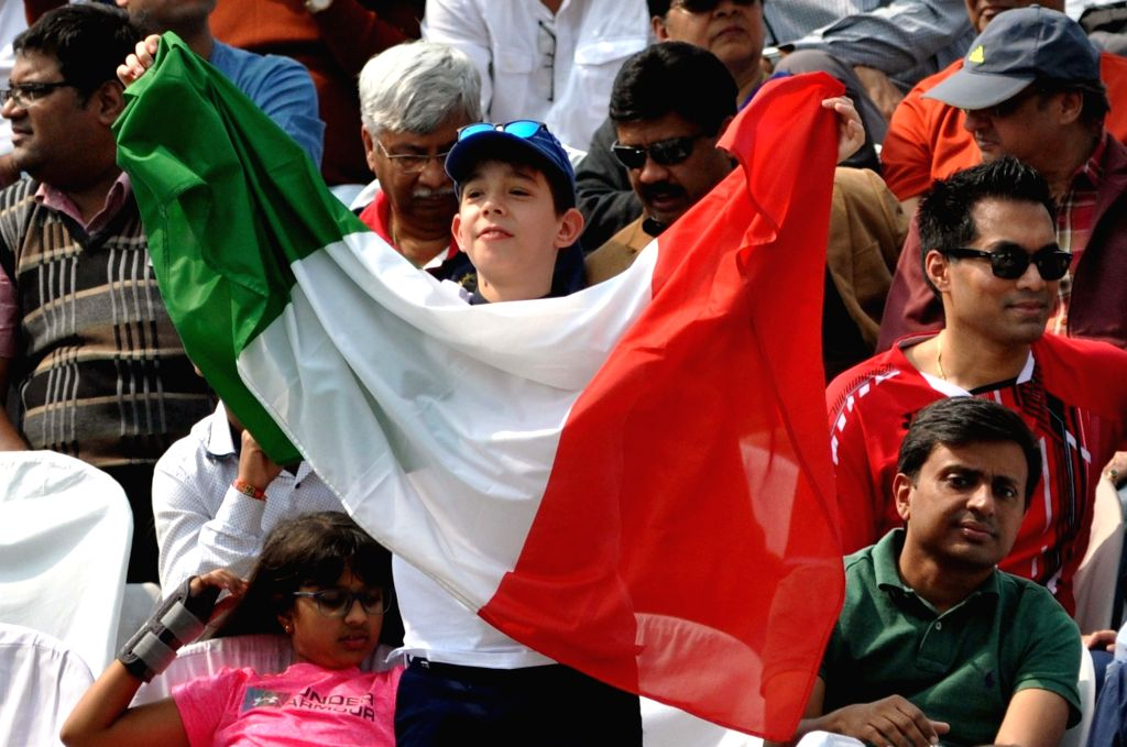 A young Italian fan cheers for his team during a Davis Cup World Group rubber against India in Kolkata, on Feb 1, 2019.