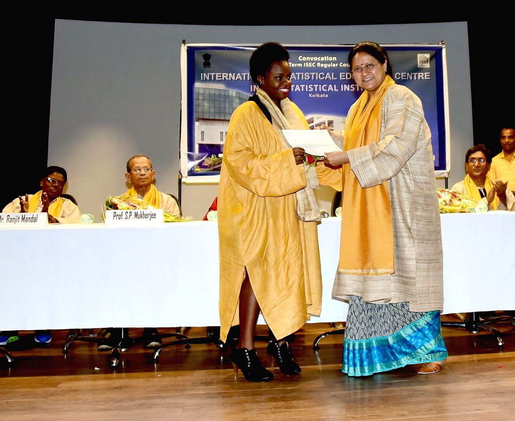 A Zambian citizen receives her Course Completion Certificate from Indian Statistical Institute (ISI) Director,Prof. Sanghamitra Bandyopadhyay during the Convocation Ceremony of 70th Term ...