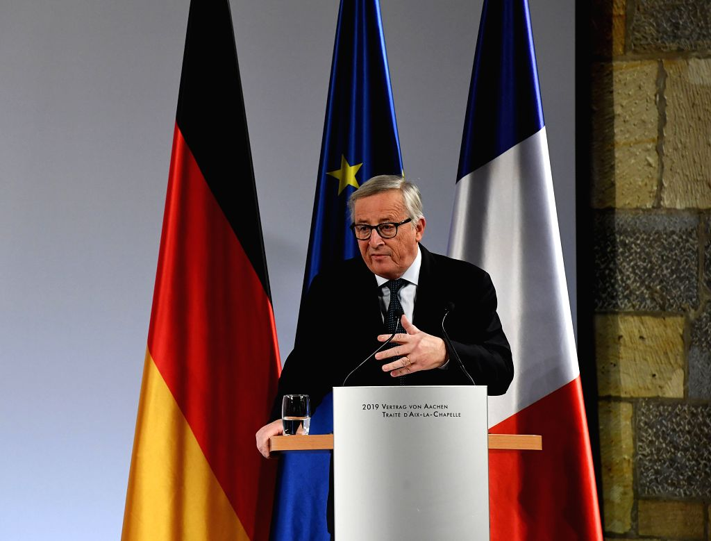 AACHEN, Jan. 22, 2019 - European Commission President Jean-Claude Juncker delivers a speech at the treaty of Aachen signing ceremony in Aachen, Germany, on Jan. 22, 2019. German Chancellor Angela ...