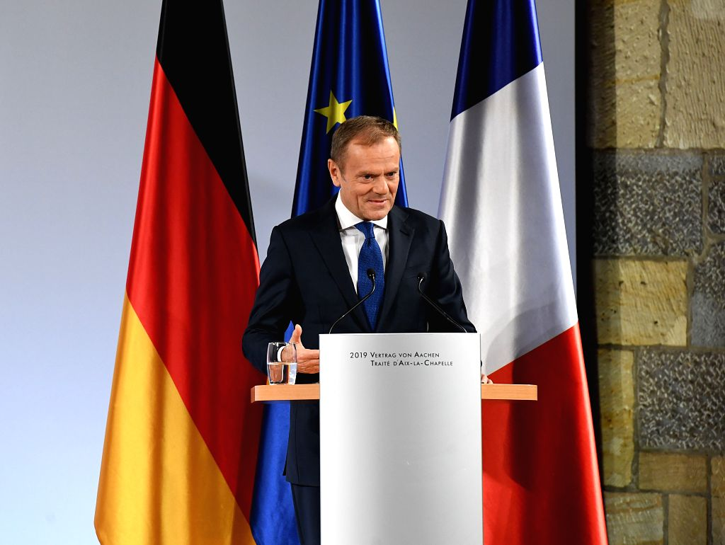 AACHEN, Jan. 22, 2019 - European Council President Donald Tusk delivers a speech at the treaty of Aachen signing ceremony in Aachen, Germany, on Jan. 22, 2019. German Chancellor Angela Merkel and ...