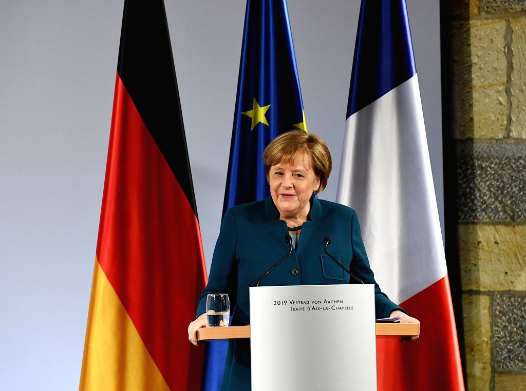 AACHEN, Jan. 22, 2019 - German Chancellor Angela Merkel delivers a speech at the treaty of Aachen signing ceremony in Aachen, Germany, on Jan. 22, 2019. German Chancellor Angela Merkel and French ...