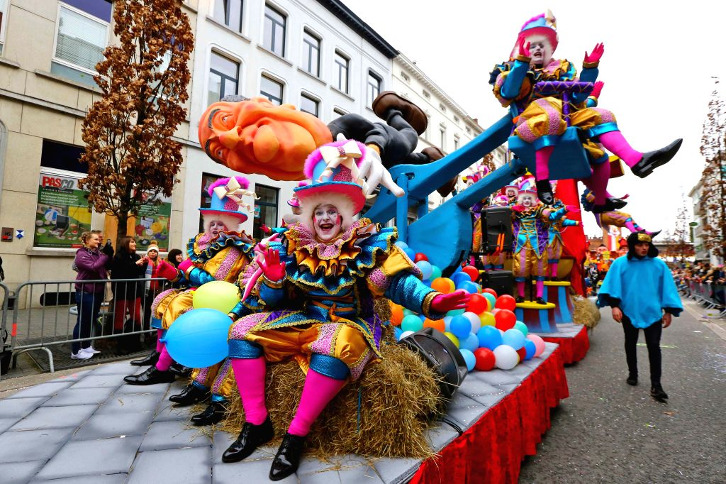 AALST, Feb. 27, 2017 - People participate in the Aalst carnival in Aalst, Belgium, Feb. 26, 2017. The 3-day Aalst carnival kicked off here on Sunday.