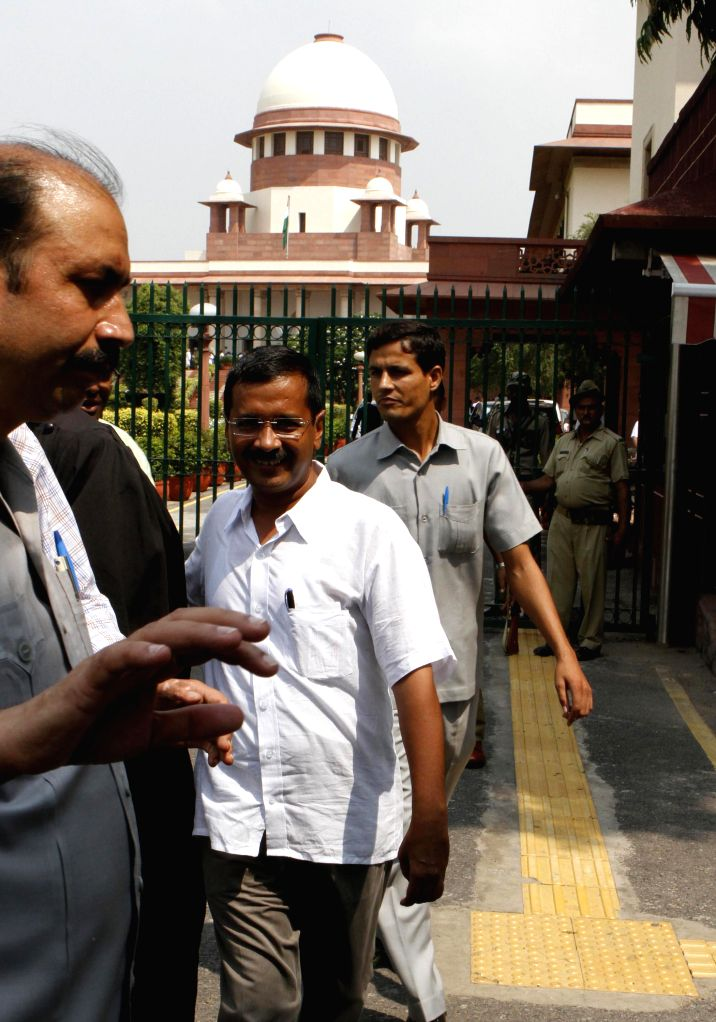 Aam Aadmi Party (AAP) leader Arvind Kejriwal comes out of the Supreme Court of India in New Delhi on Sept 9, 2014.