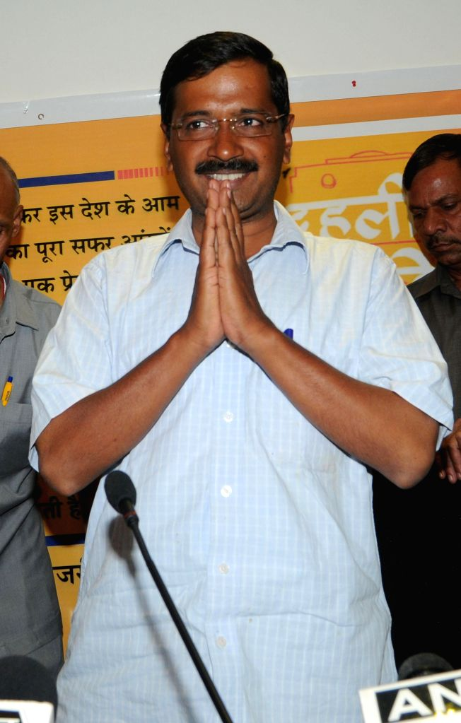 Aam Aadmi Party (AAP) leader Arvind Kejriwal during a book launch in New Delhi on April 14, 2014.