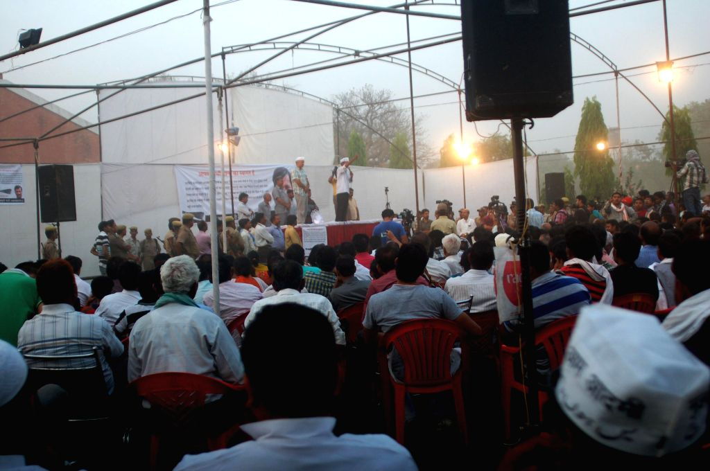 Aam Aadmi Party (AAP) leader Arvind Kejriwal during a meeting in Varanasi on April 15, 2014.