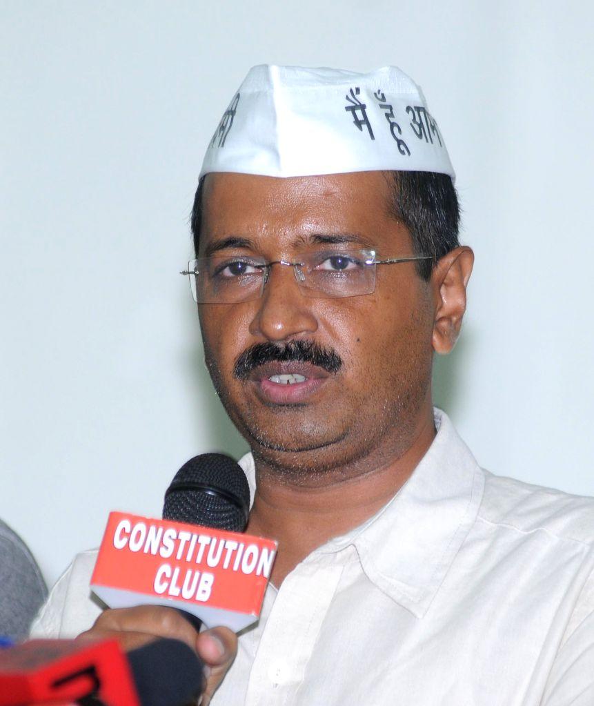 Aam Aadmi Party (AAP) leader Arvind Kejriwal during a press conference in New Delhi on Sept 8, 2014. - Arvind Kejriwal