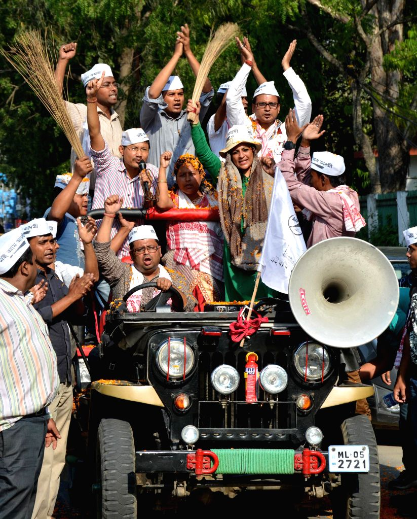 Aam Aadmi Party (AAP) leader Shazia Ilmi campaigns for party's candidate for 2014 Lok Sabha Election from Guwahati, Pranjal Bordoloi in Guwahati on April 22, 2014.