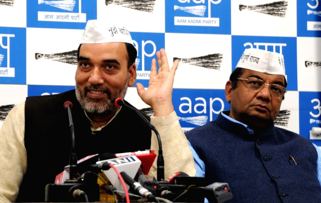 Aam Aadmi Party (AAP) leaders Gopal Rai and Sushil Gupta address a press conference in New Delhi, on March 14, 2019. - Gopal Rai and Sushil Gupta