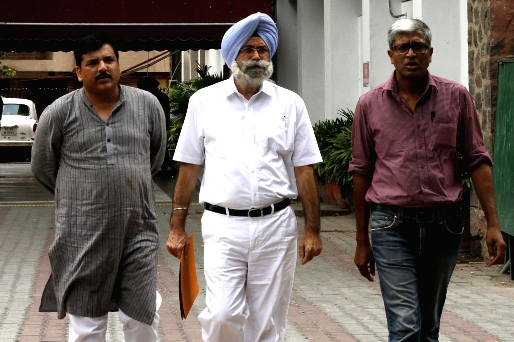 Aam Aadmi Party (AAP) leaders Sanjay Singh, H. S. Phoolka and Ashutosh come out after meeting election commissioner regarding an alleged attack on a party leader ahead of by-elections in Talwandi ... - Sanjay Singh