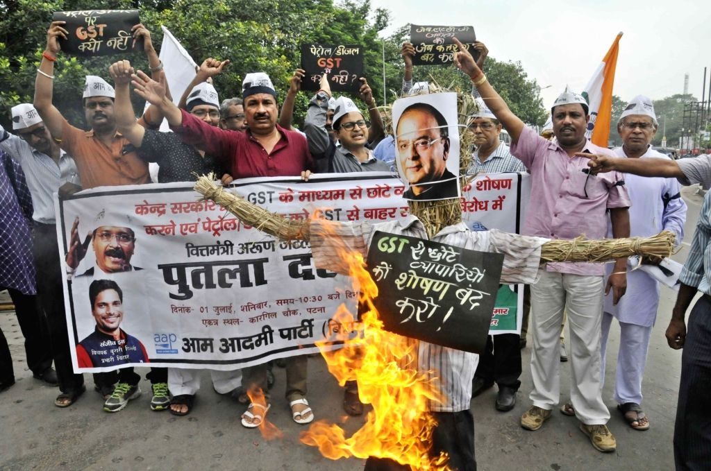Aam Aadmi Party (AAP) workers stage a demonstration against GST in Patna on July 1, 2017.