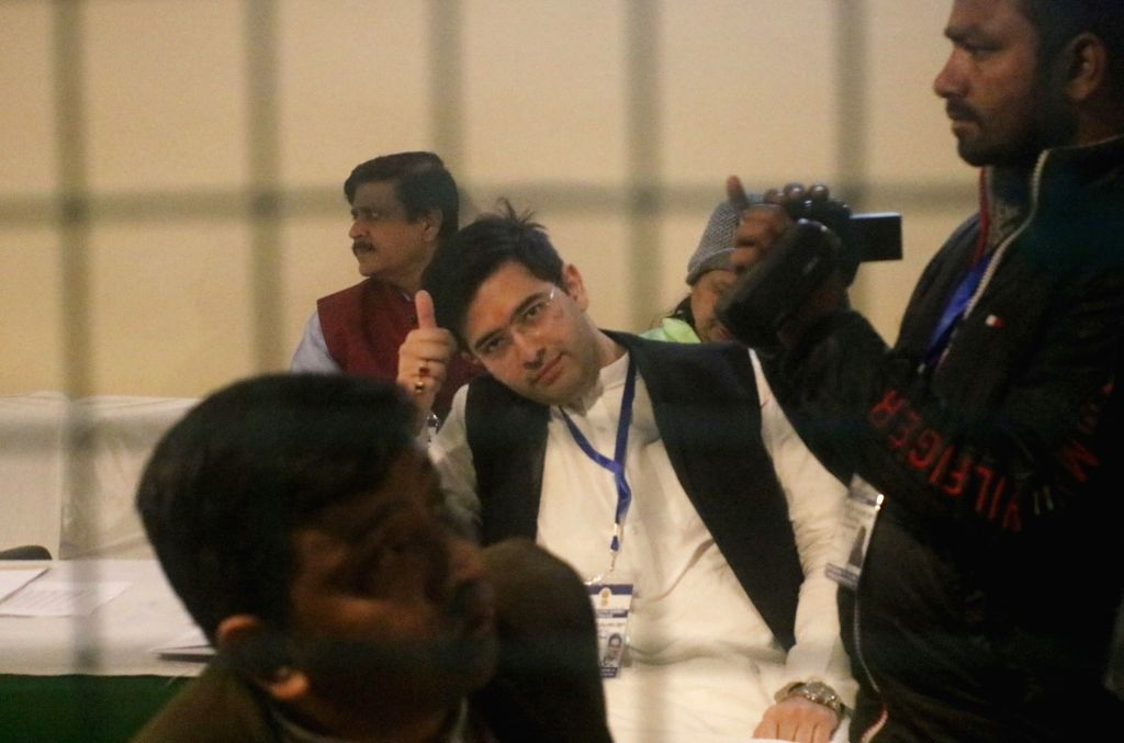 Aam Aadmi Party candidate from Rajinder Nagar assembly constituency Raghav Chadha at Gol Market counting centre during the counting of votes for the recently concluded Delhi Assembly ...