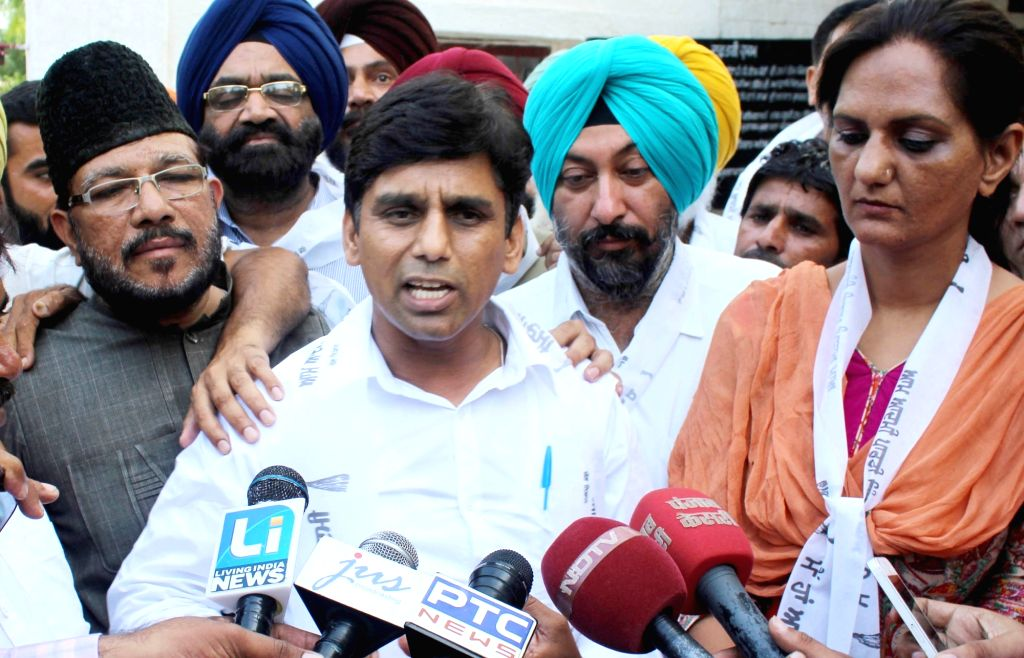 Aam Aadmi Party MLA Naresh Yadav talks to press after he was granted bail in Quran desecration case by a Punjab court in Sangrur of Punjab on July 30, 2016. - Naresh Yadav
