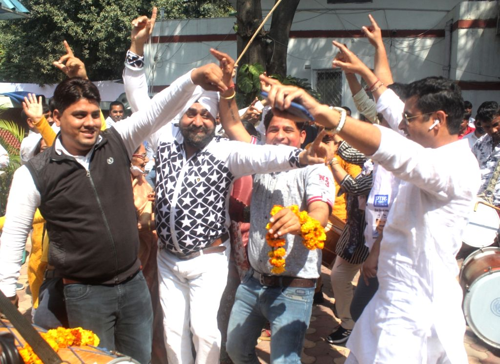 Aam aadmi party supporters celebrating after AAP winning four seats of MCD by polls at AAP party office in new Delhi on Wednesday, 03rd March, 2021.