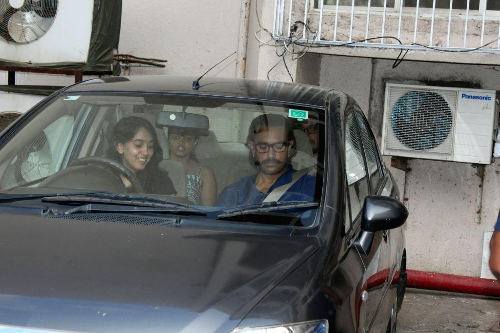 Aamir Khan with daughter Ira seen at Mehboob Studio in Mumbai on May 24, 2018. - Aamir Khan