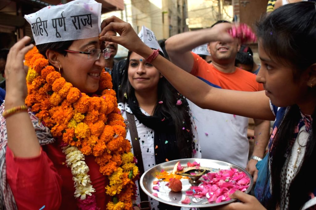 AAP leader Atishi Marlena during election campaign in New Delhi on April 30, 2019.