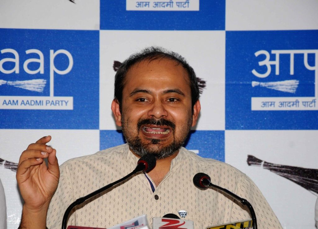 AAP leader Dilip Pandey addresses a press conference in New Delhi on June 17, 2016. - Dilip Pandey