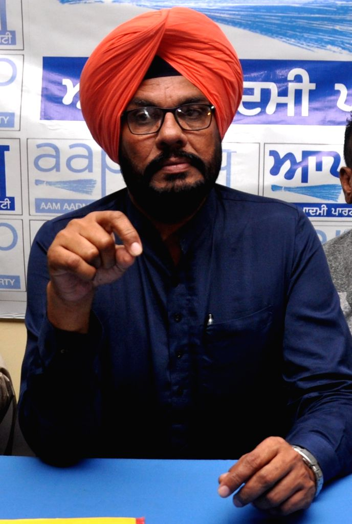 AAP leader Kuldeep Singh addresses a press conference in Amritsar on Oct 31, 2018. - Kuldeep Singh