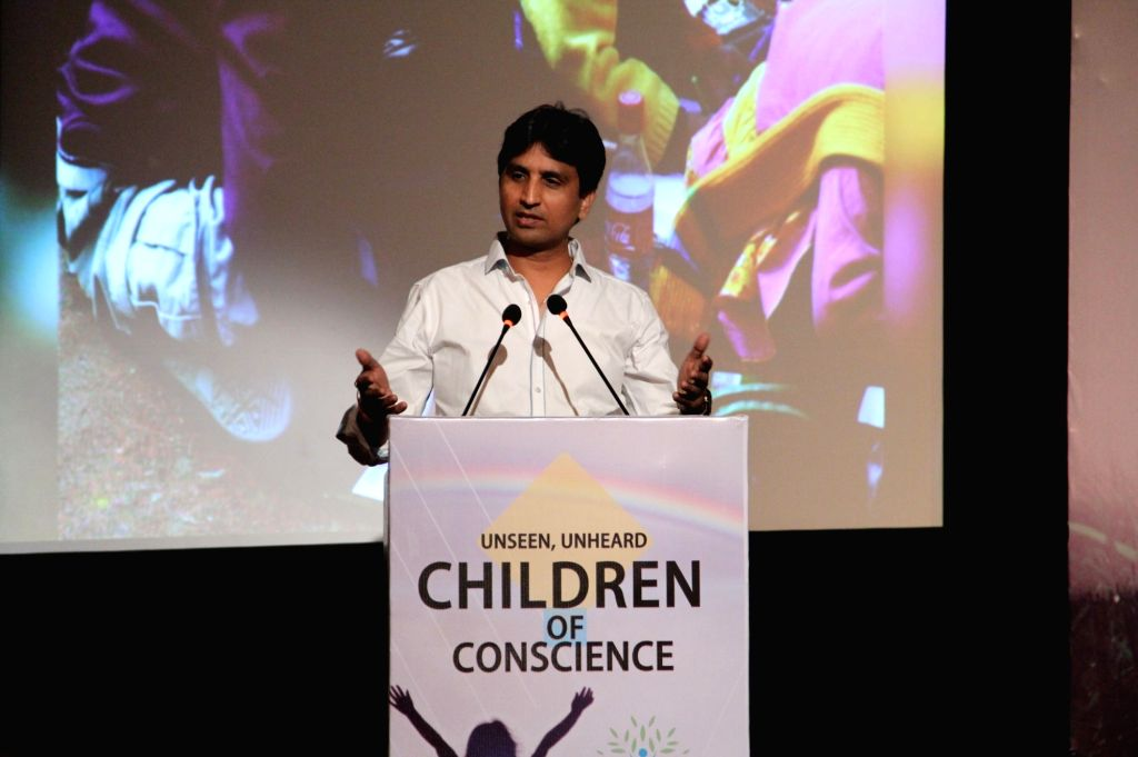 "AAP leader Kumar Vishwas addresses during ""Unseen, Unheard - Innocent Prisoners of Conscience"" - a seminar in New Delhi, on Sept 18, 2016."