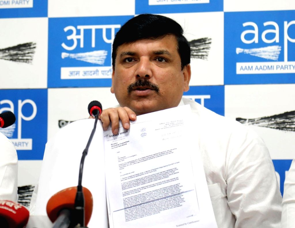AAP leader Sanjay Singh addresses a press conference in New Delhi on Oct 31, 2018. - Sanjay Singh