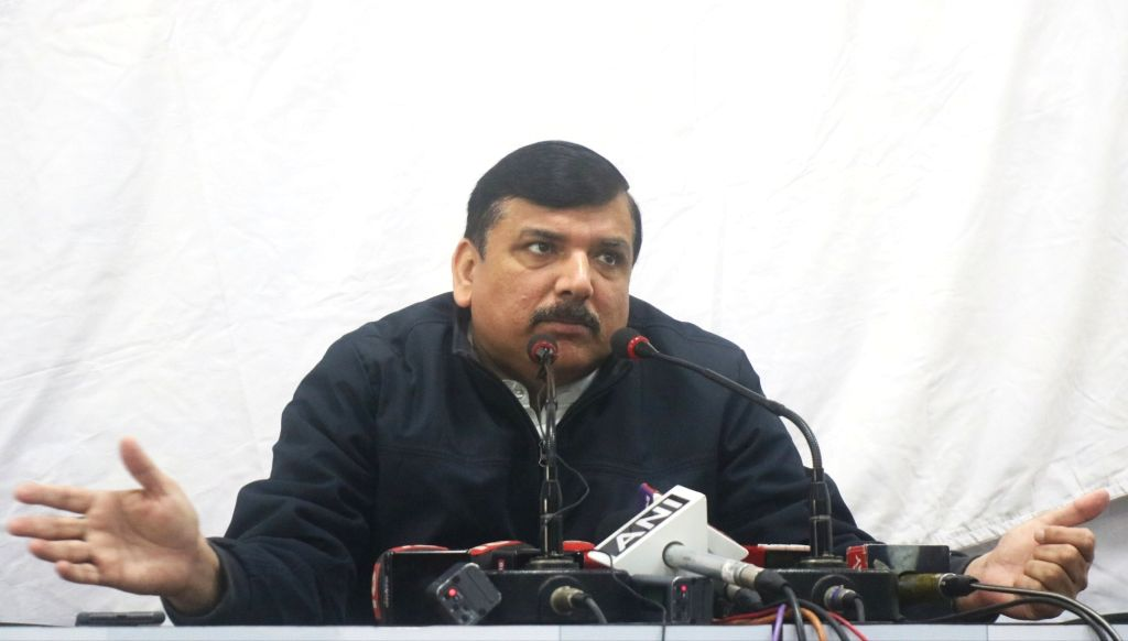 AAP leader Sanjay Singh addresses a press conference in New Delhi on Feb 7, 2020. - Sanjay Singh