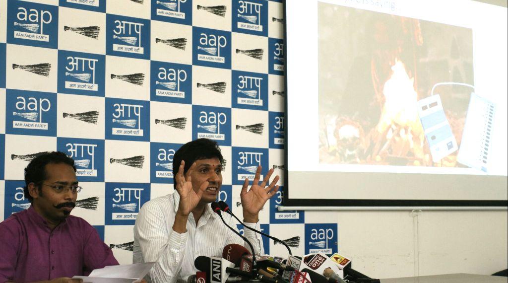 AAP leader Saurabh Bhardwaj addresses a press conference in New Delhi, on June 2, 2017. - Saurabh Bhardwaj