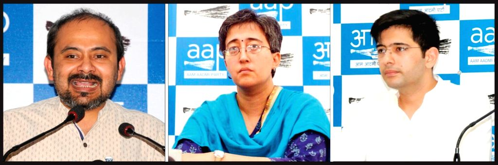 AAP leaders Dilip Pandey, Atishi Marlena and Raghav Chadha three of the six candidates who will be contesting parliamentary constituencies in the New Delhi. - Dilip Pandey