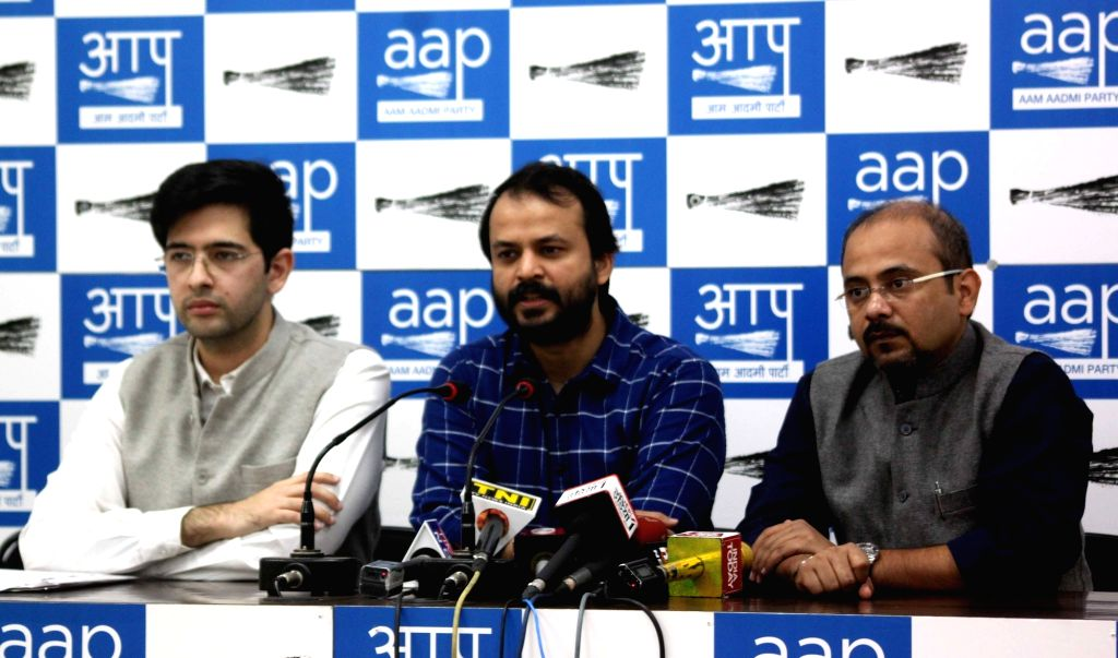 AAP leaders Ragav Chadha, Ashish Khetan and Dilip Pandey during a press conference in New Delhi on Nov 21, 2016. - Dilip Pandey