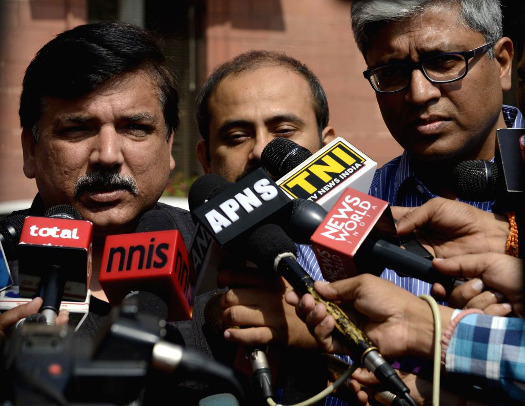 AAP leaders Sanjay Singh and Ashutosh talk to press at South Block in New Delhi, on Oct 20, 2015. - Sanjay Singh