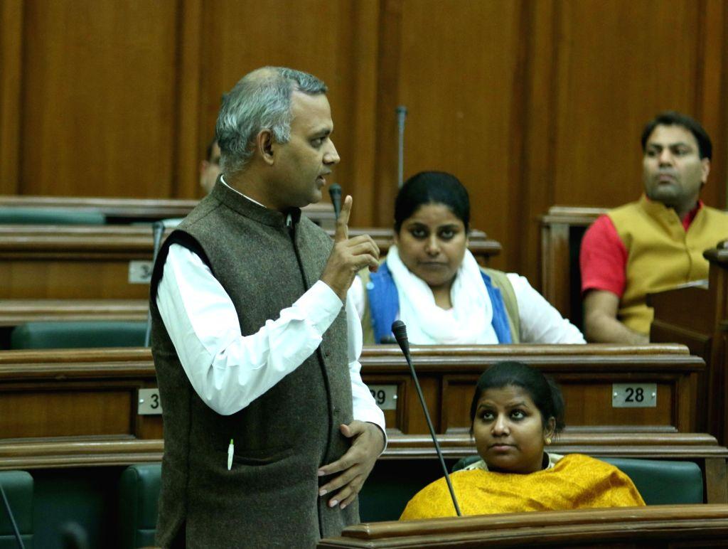 AAP legislator Somnath Bharti during the winter session of Delhi Assembly on Nov 23, 2015.
