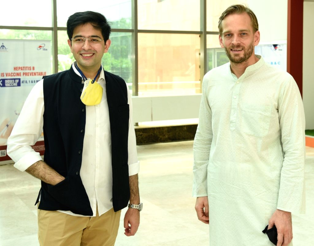 AAP MLA Raghav Chaddha during his visit to India's first plasma bank set up at the Institute of Liver and Biliary Sciences (ILBS) Hospital, in New Delhi on July 10, 2020.