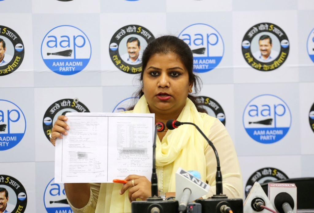 AAP MLA Rakhi Birla addresses a press conference at the party office in New Delhi on Oct 6, 2020.