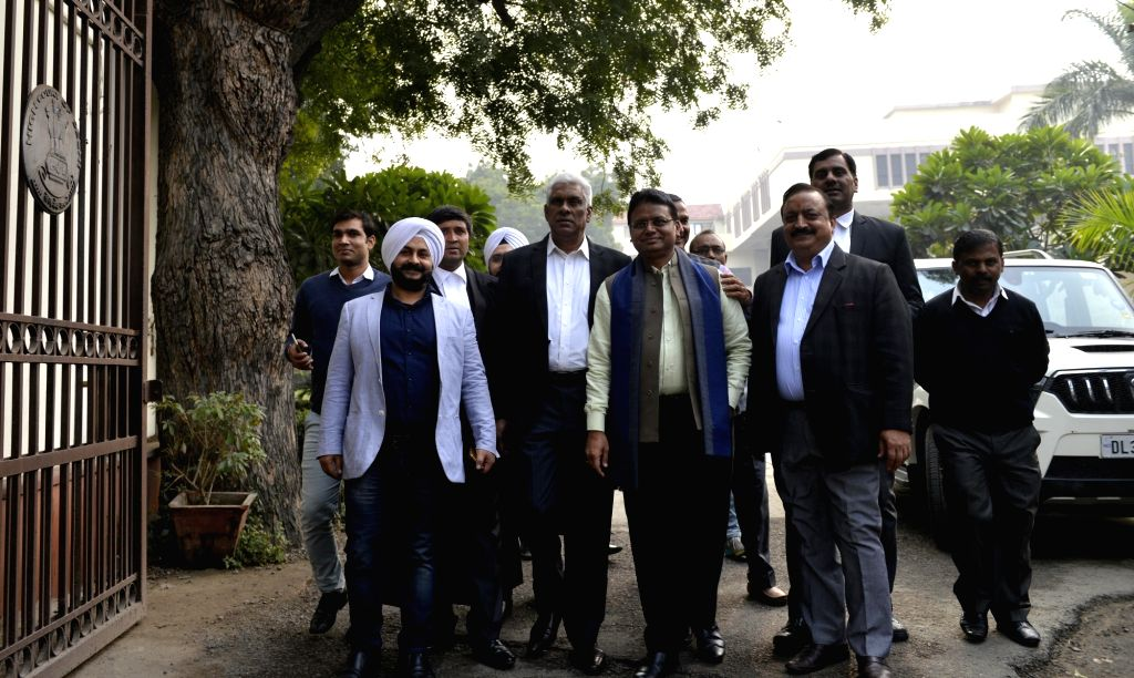 AAP MLAs outside the Delhi High Court on Jan 24, 2018. Eight of the 20 AAP MLAs on Tuesday moved the Delhi High Court challenging a notification disqualifying them on the ground of holding ... - Nath Kovind