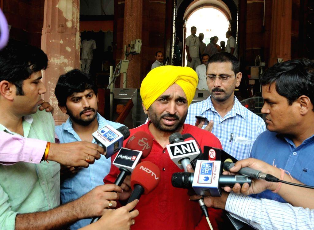 AAP MP Bhagwant Mann at Parliament in New Delhi, on July 22, 2016.