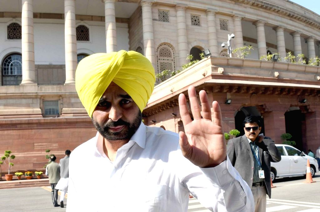 AAP MP Bhagwant Mann at Parliament in New Delhi on Nov 28, 2016.